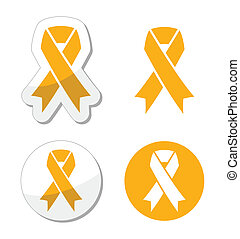 Gold ribbon - childhood cancer - Gold ribbons set isolated...