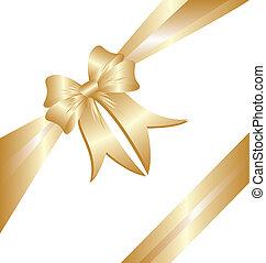 Gold ribbon Christmas gift box greetings card