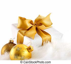 Gold ribbon gift on white