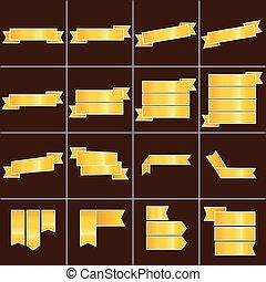 Gold ribbon icons set vector