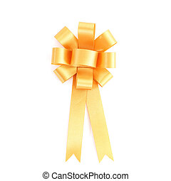 Gold ribbon isolated on white