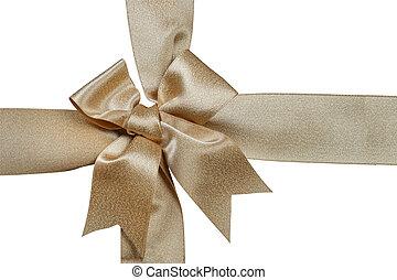 gold ribbon isolated on white background