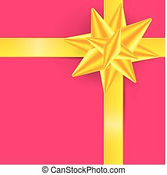 Gold Ribbon on Pink Background - Gift Box Cover -  Vector Illustration