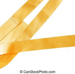 Gold ribbon on white background.