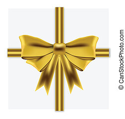 Gold ribbon on white