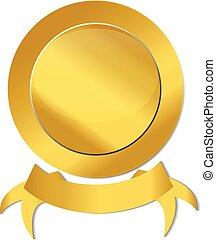 Gold ribbon seal icon