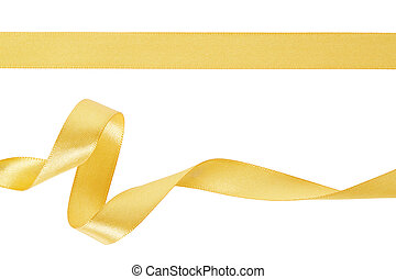 gold satin set ribbon on white golden ribbon collection isolated on