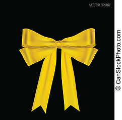 Gold ribbon. Vector illustration.