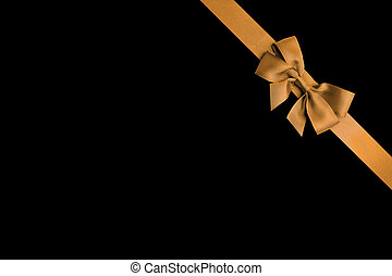 black background with gold ribbon design template