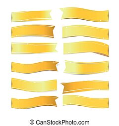 Gold ribbons on white background