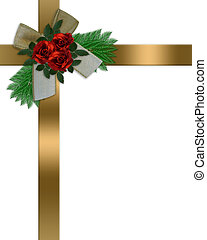 Gold ribbons, red roses and bow