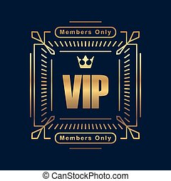 Gold rich decorated square VIP design with crown on a dark blue background.