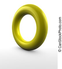 Gold Ring - Gold ring on white background