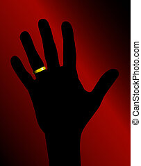 Illustration of hand silhouette with golden ring