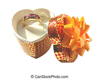 gold ring in the shiny box