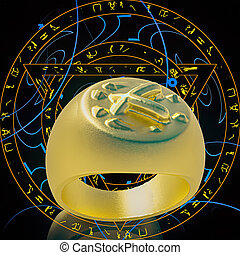 Gold ring lying on runes background 3d rendering