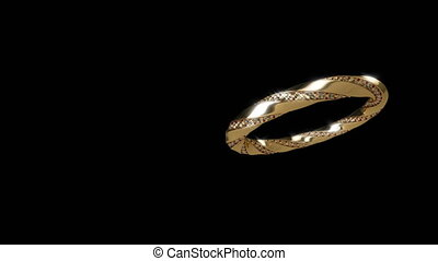 Gold ring on black able to loop