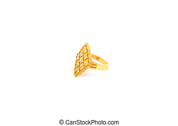Gold ring on isolated white background