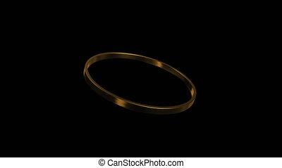 gold ring rotation 45 degree angle 4K - 3d render of golden...
