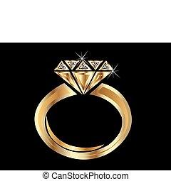 Gold Ring - Shiny golden diamond engagement ring vector eps