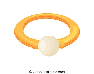 Gold ring with a pearl. Vector illustration on white background.