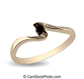 Gold ring with black onyx. Vector illustration