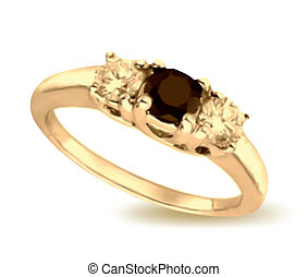 Gold ring with black onyx. Vector