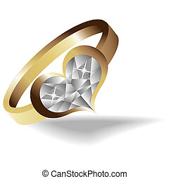 Gold ring with brilliant heart