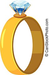 Gold ring with diamond icon, cartoon style