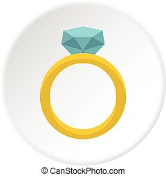 Gold ring with diamond icon circle