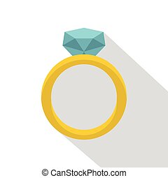 Gold ring with diamond icon, flat style