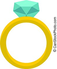 Gold ring with diamond icon isolated