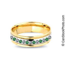 Gold ring with emeralds. Vector illustration