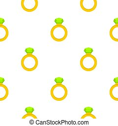 Gold ring with green gem pattern seamless