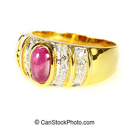 gold ring with ruby and diamond on white background