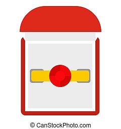 Gold ring with ruby in a red velvet box icon