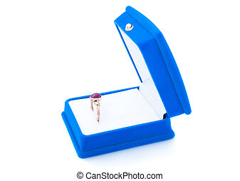 Gold ring with ruby in blue velvet jewelry box