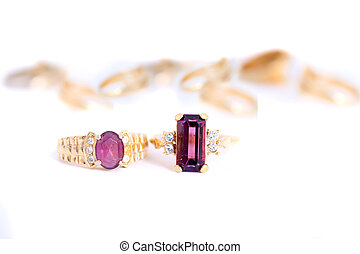 gold rings - different purple stone rings with gold bands in...