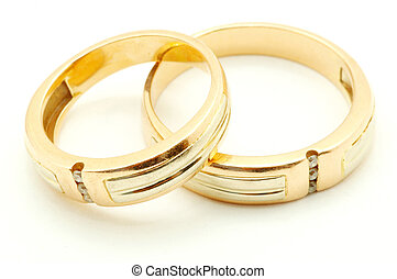 gold rings - Gold wedding rings isolated on white background