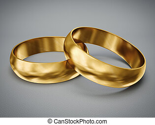 gold rings isolated on a grey background