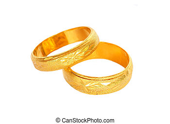 Gold rings on a white background.