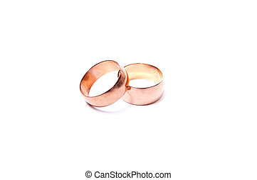 Gold rings - Two gold rings isolated on white background