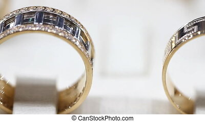 Gold rings in a jewellery