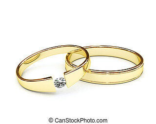 Gold rings with diamond on white background. High resolution...