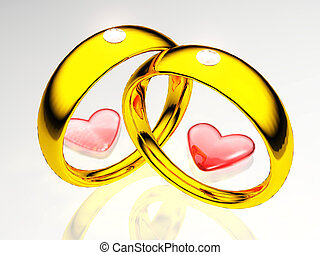 Gold rings with hearts