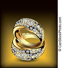 Gold rings with some diamonds. Vector