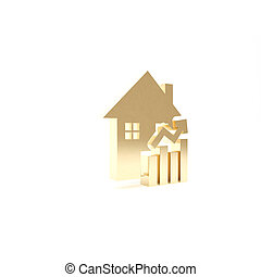 Gold Rising cost of housing icon isolated on white background. Rising price of real estate. Residential graph increases. 3d illustration 3D render