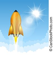 Gold rocket launch on blue sky background