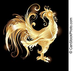 gold rooster - artistically painted rooster gold on a dark...