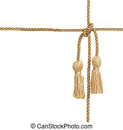 Gold rope with tassel isolated on white (with clipping...
